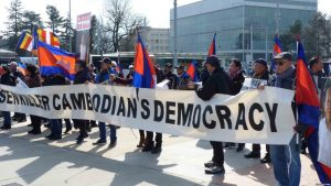 Cambodians in Europe protested against political repression in Cambodia. (Courtesy photo)