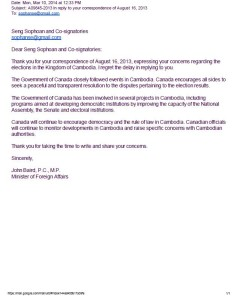 Letter from Minister of Foreign Affairs of Canada