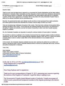 Thank you letter to H.E.John Baird of Canada