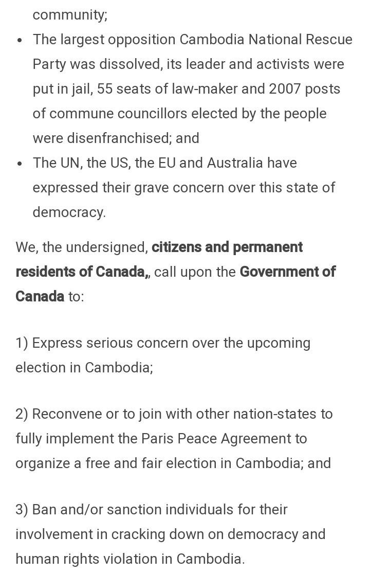 Petition To The House Of Common Of Canada On Cambodia The Ceroc